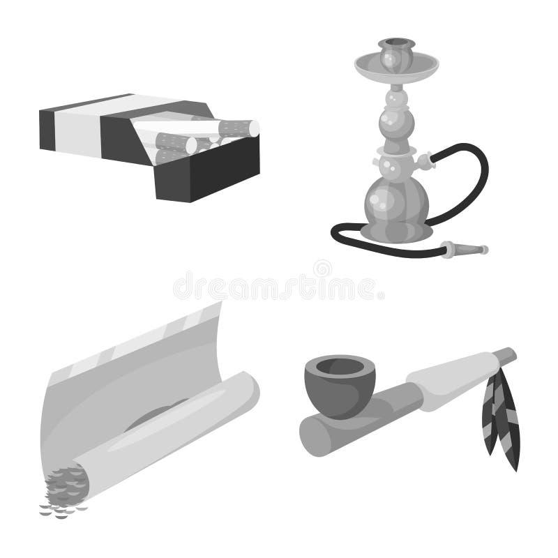 设备和抽烟的标志的传染媒介例证 设置设备和害处传染媒介象股票的 向量例证