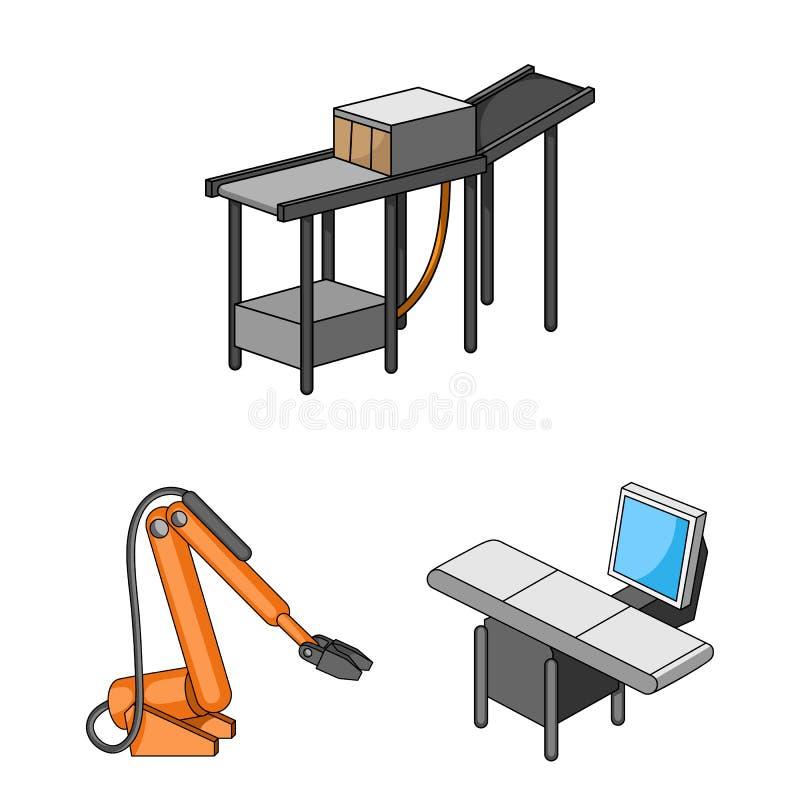 设备和机器在集合汇集的动画片象的设计 工厂传染媒介标志股票的技术进步 皇族释放例证