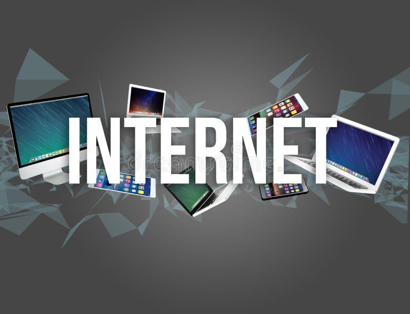 设备围拢的互联网标题喜欢智能手机、片剂或者la 库存照片