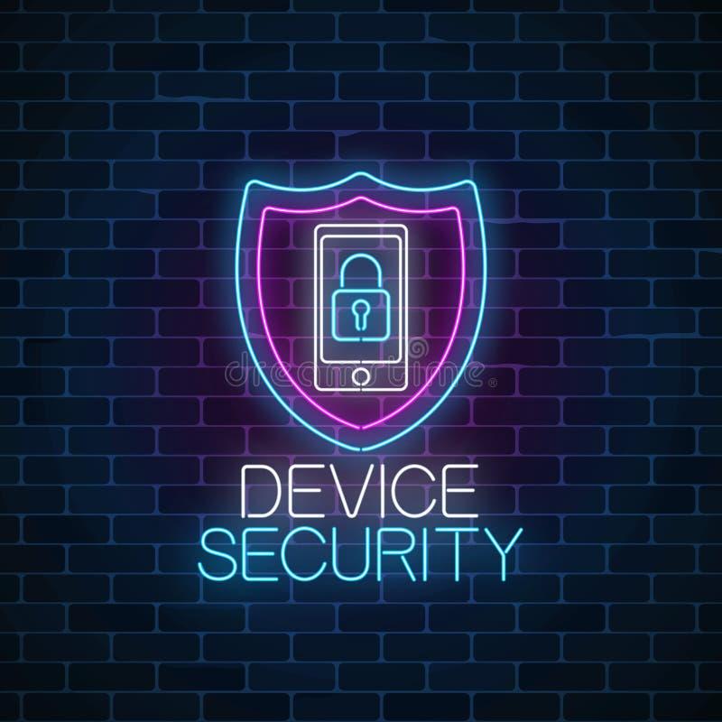 设备安全发光的霓虹灯广告 网络与盾和移动设备的安全标志有锁的 皇族释放例证