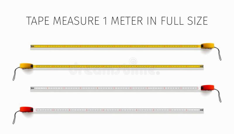 设备打算长度评定评定磁带 黄色和红色轮盘赌在真正的大小的1米 皇族释放例证