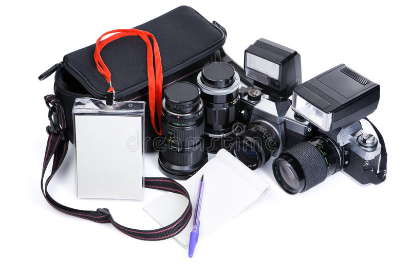 设备摄影新闻工作 库存图片