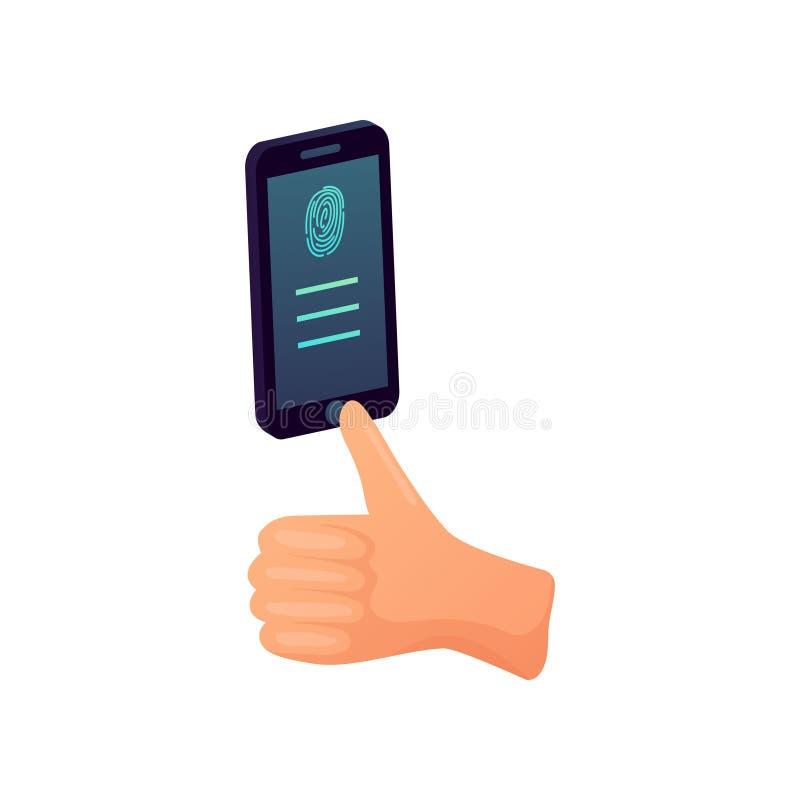 设备智能手机圆的指纹按钮现代安全  库存例证