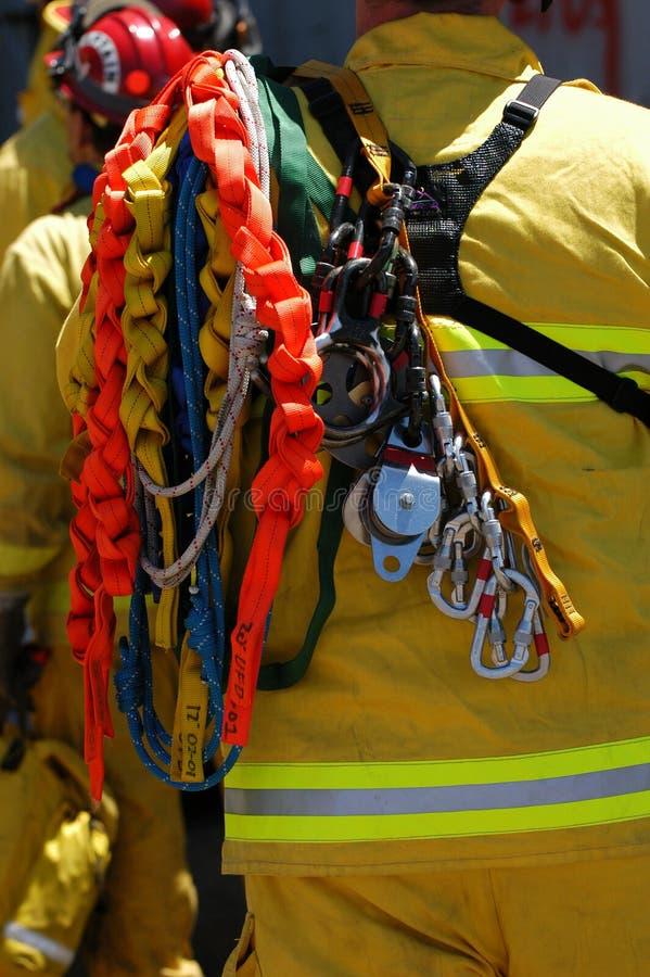 设备消防队员抢救 库存照片