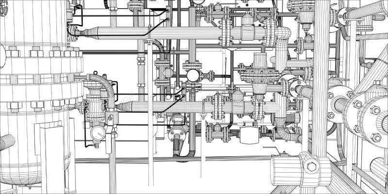 设备的例证加热系统的 向量例证
