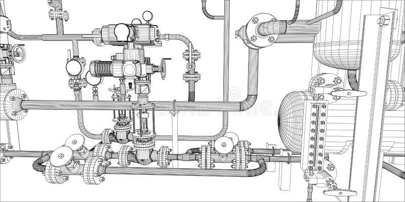 设备的例证加热系统的 皇族释放例证