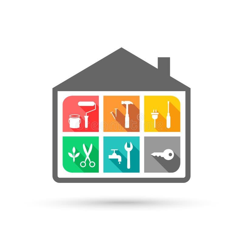 设备管理和房子概念 皇族释放例证
