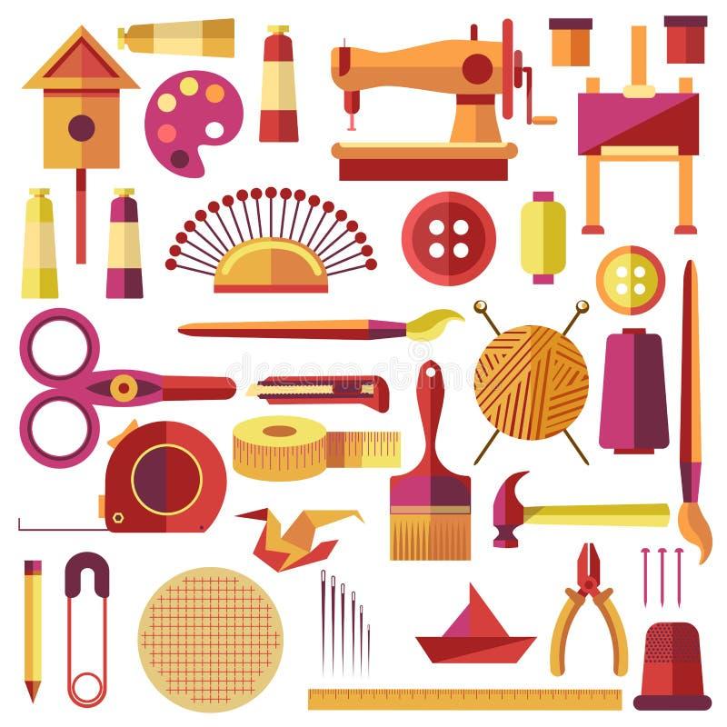 设备缝合的传染媒介海报和手工制造 向量例证