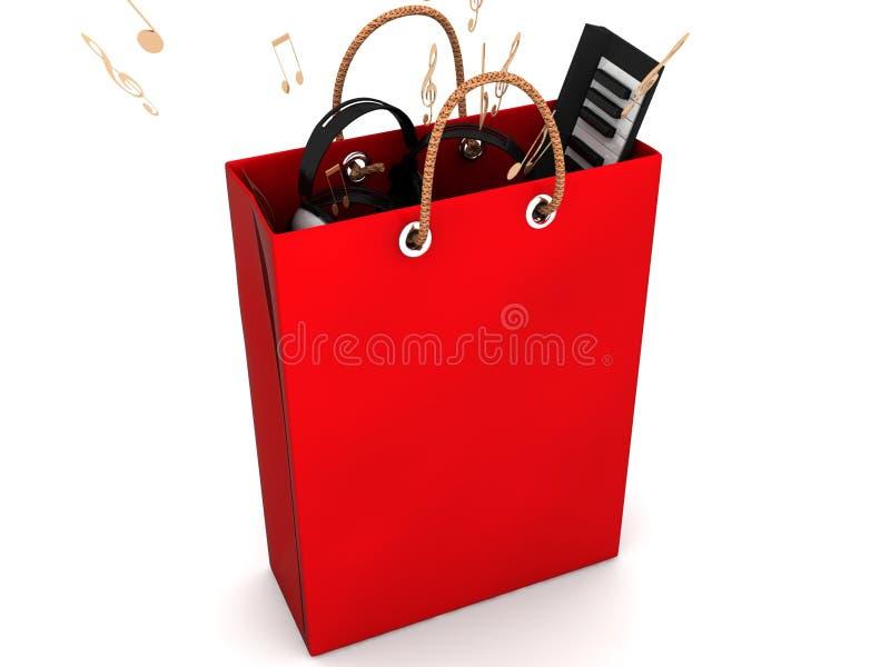 设备音乐红色被回报的购物 库存例证