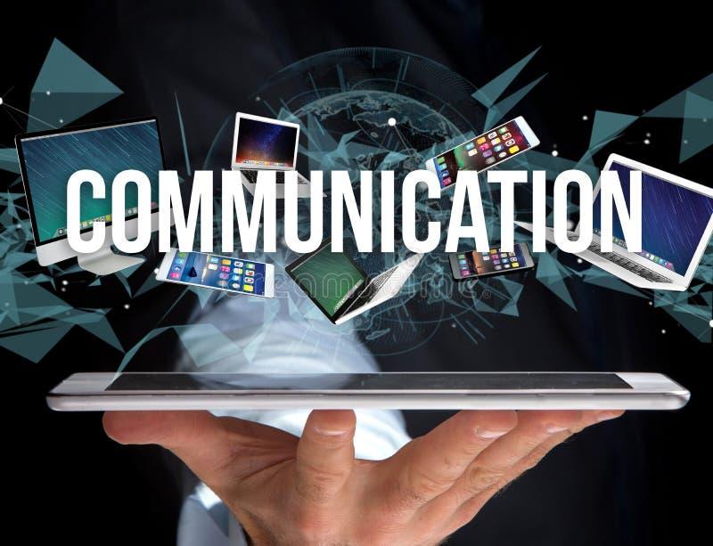设备围拢的通信标题喜欢智能手机,片剂 库存照片