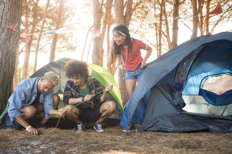 设定帐篷的年轻朋友在森林 库存照片
