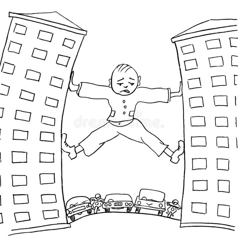 设法哀伤的人移动房子,防止都市交通 讽刺画 向量例证