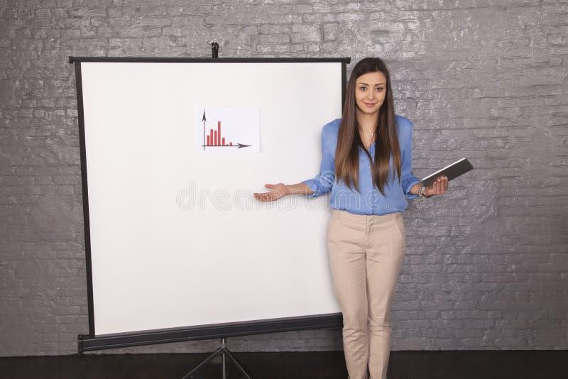 设法无能为力的女商人解释图表 库存图片