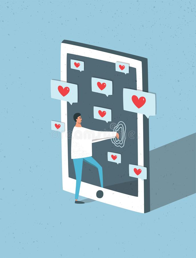 设法男性的漫画人物进入有通知的巨型智能手机在屏幕上,当睡觉时 概念  向量例证