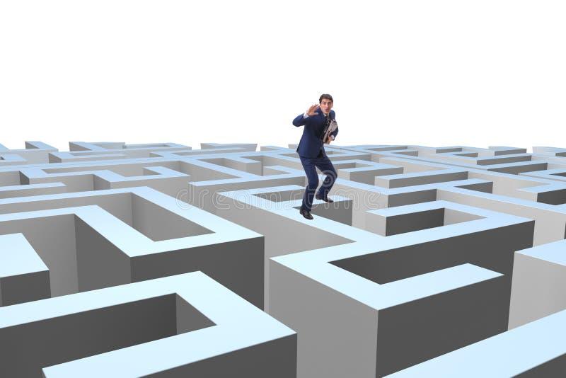 设法的商人从迷宫逃脱 免版税图库摄影