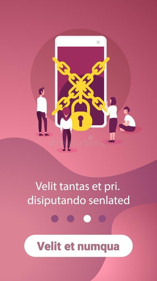 设法的商人得到通入链挂锁智能手机数据保护概念流动应用人妇女工作 向量例证
