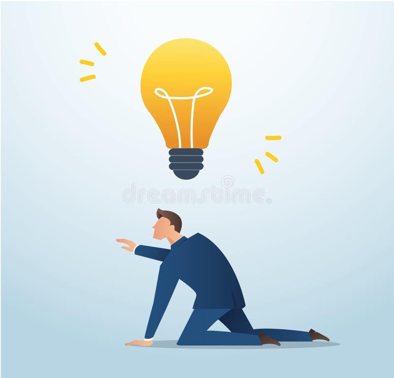 设法的商人捉住电灯泡,剽窃,创造性传染媒介例证的概念 库存例证