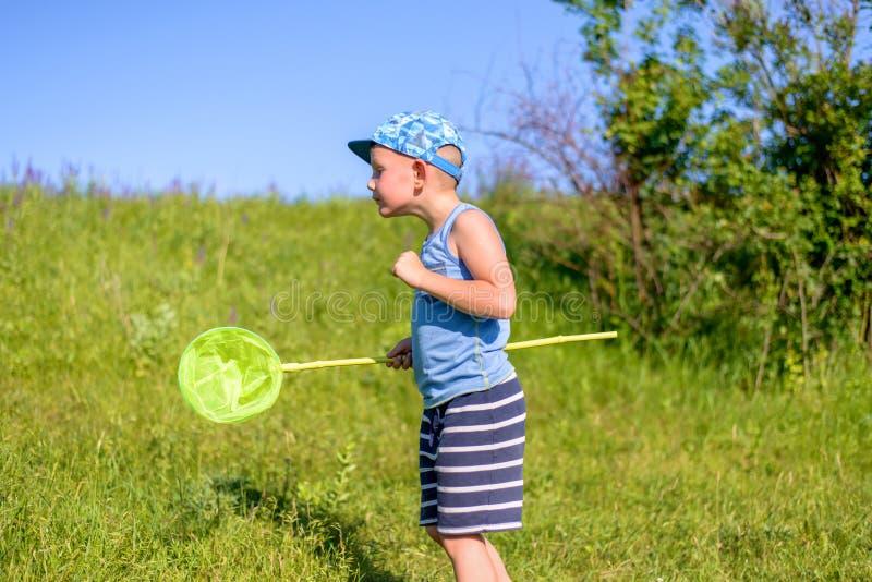 设法年轻的男孩捉住在草的蚂蚱 库存照片