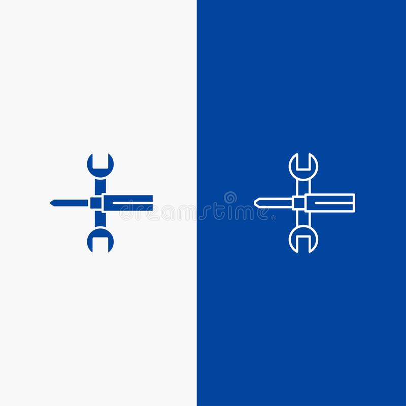 设置、控制、螺丝刀、扳手、工具、板钳线和纵的沟纹坚实象蓝色旗和纵的沟纹坚实象蓝色 皇族释放例证