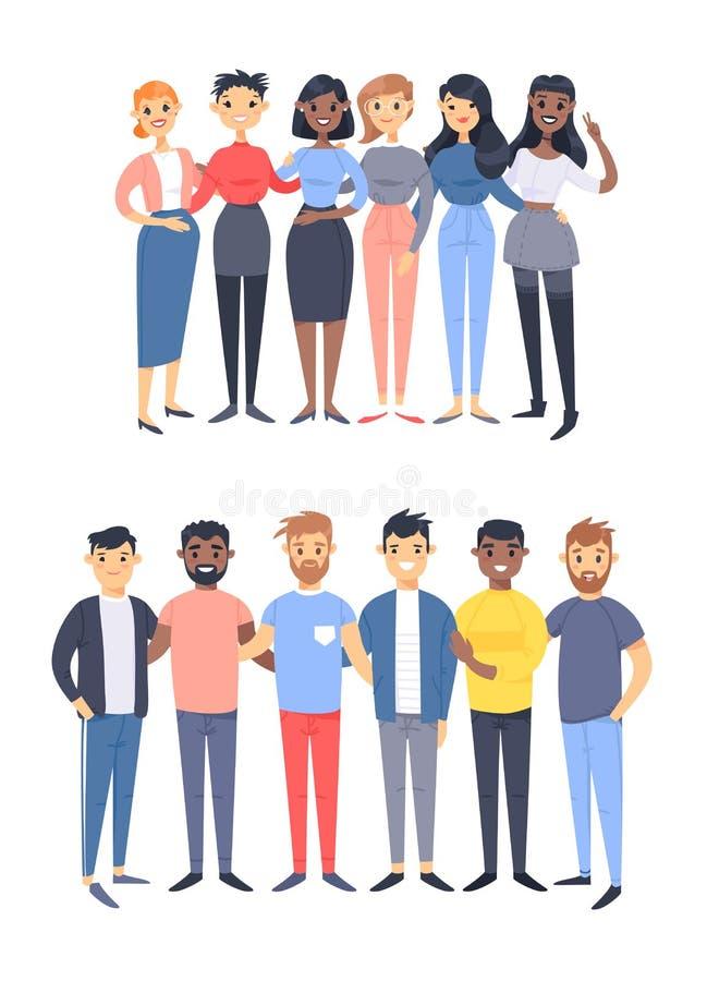 设置一个小组不同的男人和妇女 动画片不同的种族,性别样式字符  传染媒介例证白种人, 库存例证