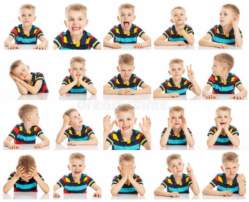 设置一个男孩的情感图象有大蓝眼睛的在一件明亮的T恤杉,拼贴画,特写镜头,白色背景 免版税库存照片