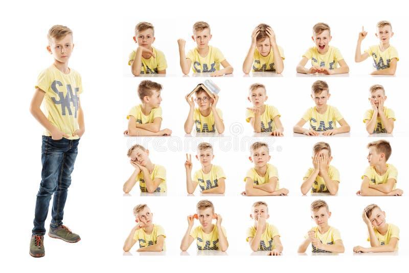 设置一个逗人喜爱的学龄男孩的情感画象明亮的衣裳的 从不同的鬼脸的拼贴画 : 免版税库存照片