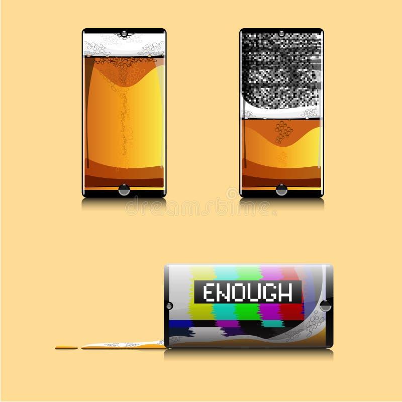 设置三个智能手机 向量例证