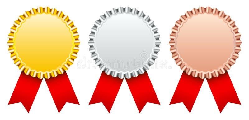 设置三枚奖徽章金银古铜色与红色丝带 库存例证