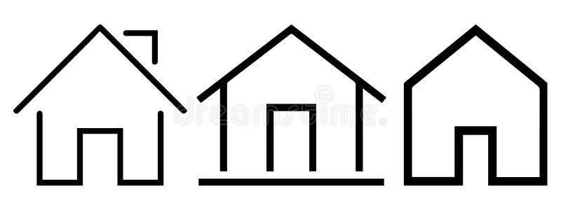 设置不动产和家庭稀薄的线象 向量例证