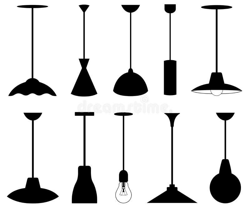 设置不同的吊灯 库存例证