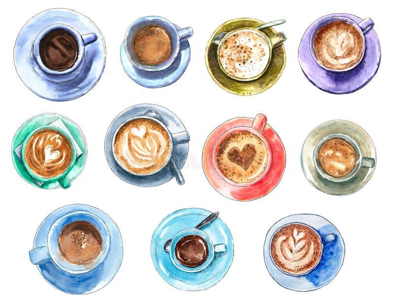 设置不同的咖啡杯,手拉的水彩例证 库存例证