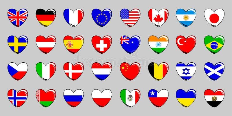 设置不同的国家32面旗子以在轻的背景的心脏的形式 也corel凹道例证向量 库存例证