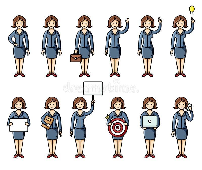 设置不同的姿势女商人平的样式infographic元素 传染媒介字符 皇族释放例证