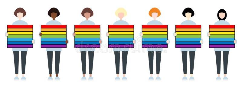 设置不同的拿着彩虹片剂的种族女性角色 LGBTIQ?? 妇女权利 向量例证
