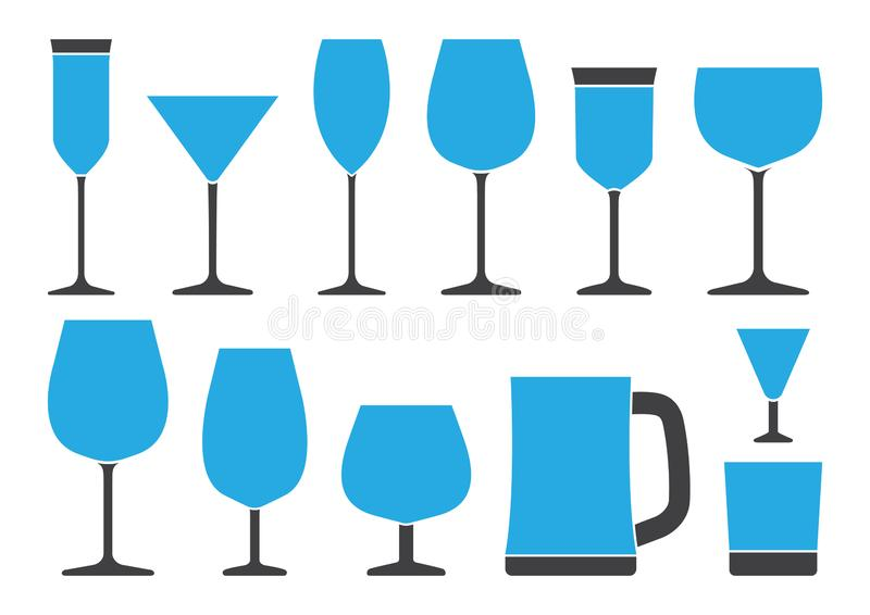 设置不同的酒精饮料的玻璃 r 库存例证