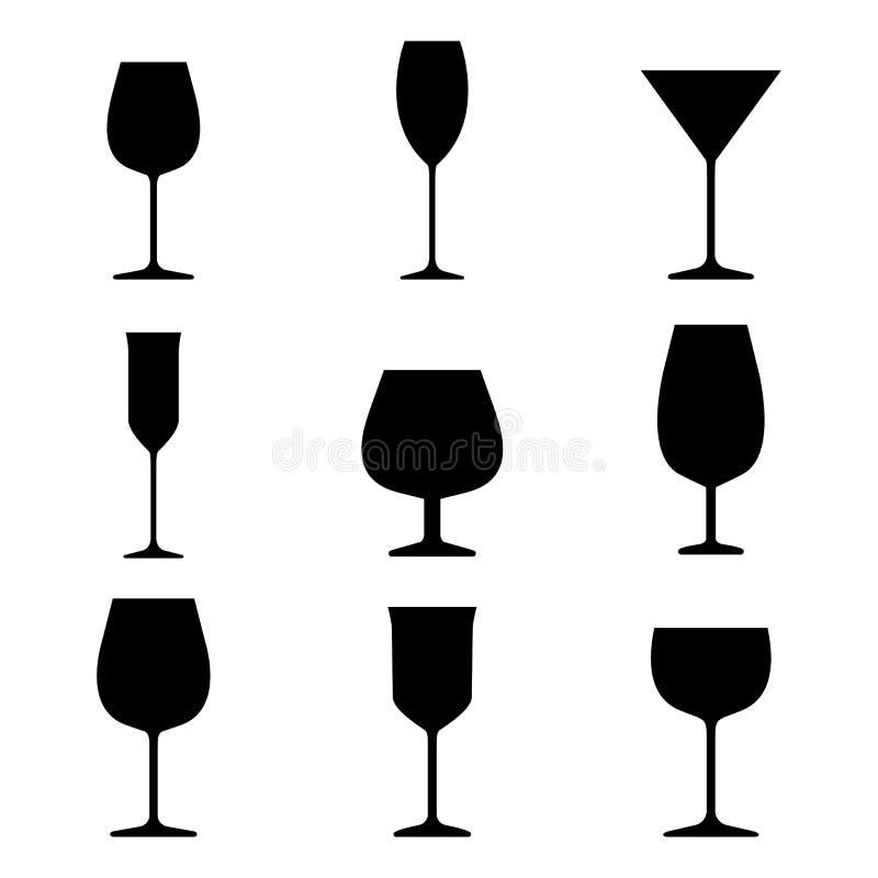 设置不同的酒精饮料的玻璃 r 皇族释放例证