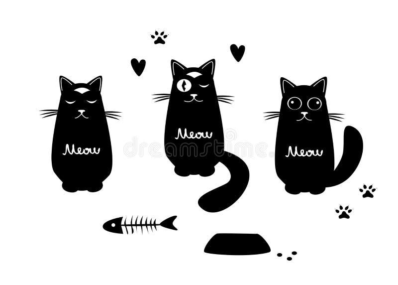 设置与三只滑稽的猫 库存例证