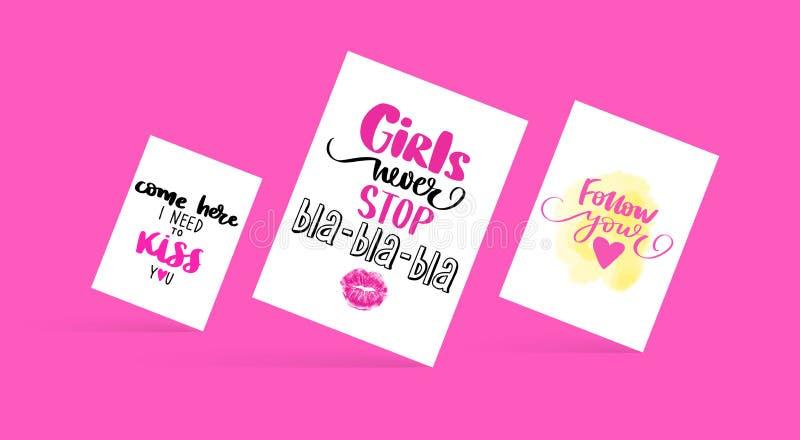 设置与与启发行情的时尚卡片关于女孩,爱,亲吻 库存例证