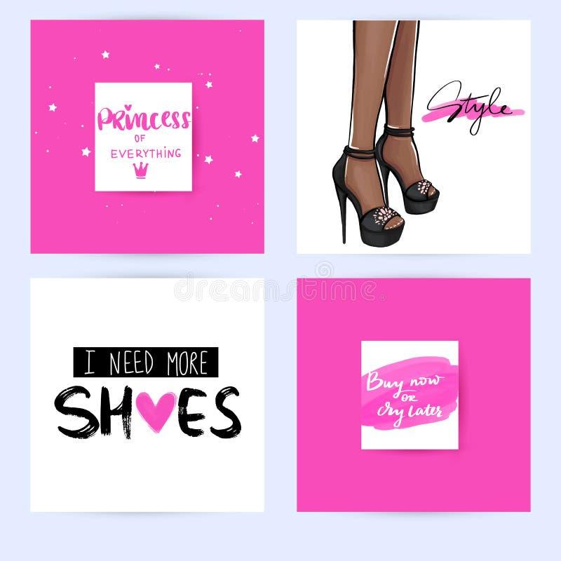 设置与与启发行情的时尚卡片关于女孩,鞋子,时尚,高跟鞋,购物 向量例证