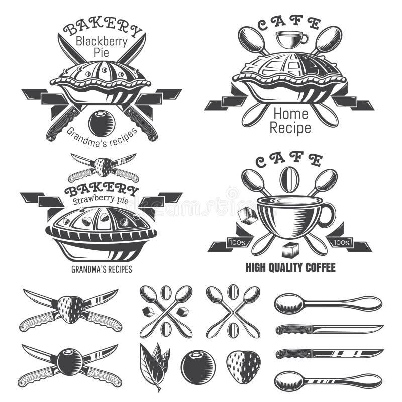 设置与丝带的不同的饼 面包店的,酥皮点心,菜单,咖啡馆商标和设计元素 向量例证