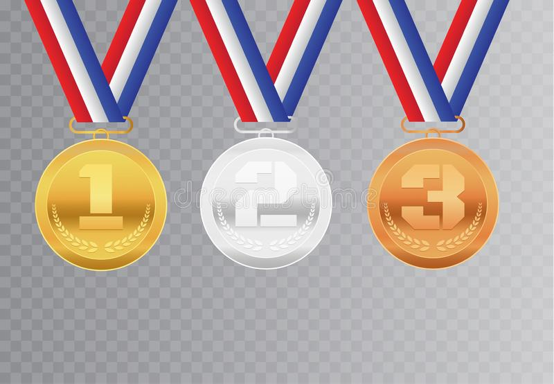 设置与丝带的现实金黄,银色和古铜色奖奖牌 荣誉最佳的发光的圈子仪式奖隔绝了  向量例证