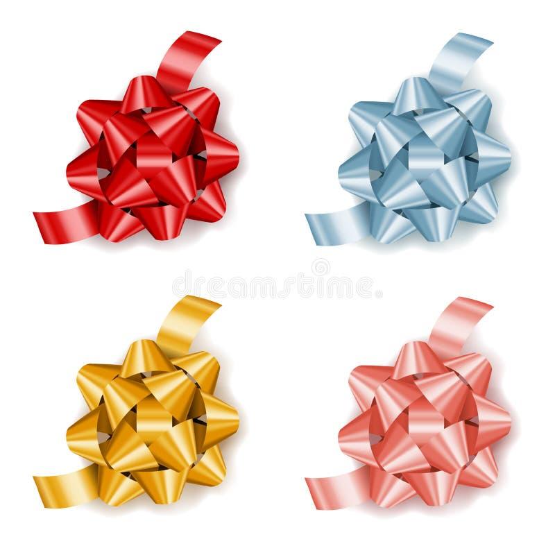 设置与丝带,礼物的装饰的五颜六色的现实礼物弓 皇族释放例证