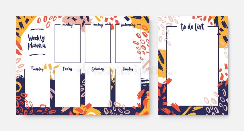 设置与五颜六色的涂抹装饰的框架的每周计划者和对做名单模板,刷子冲程,污迹,杂文 库存例证