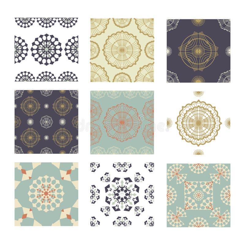 设置与五颜六色的补缀品的无缝的陶瓷装饰 葡萄酒多色样式 能为瓷砖,墙纸使用, 皇族释放例证