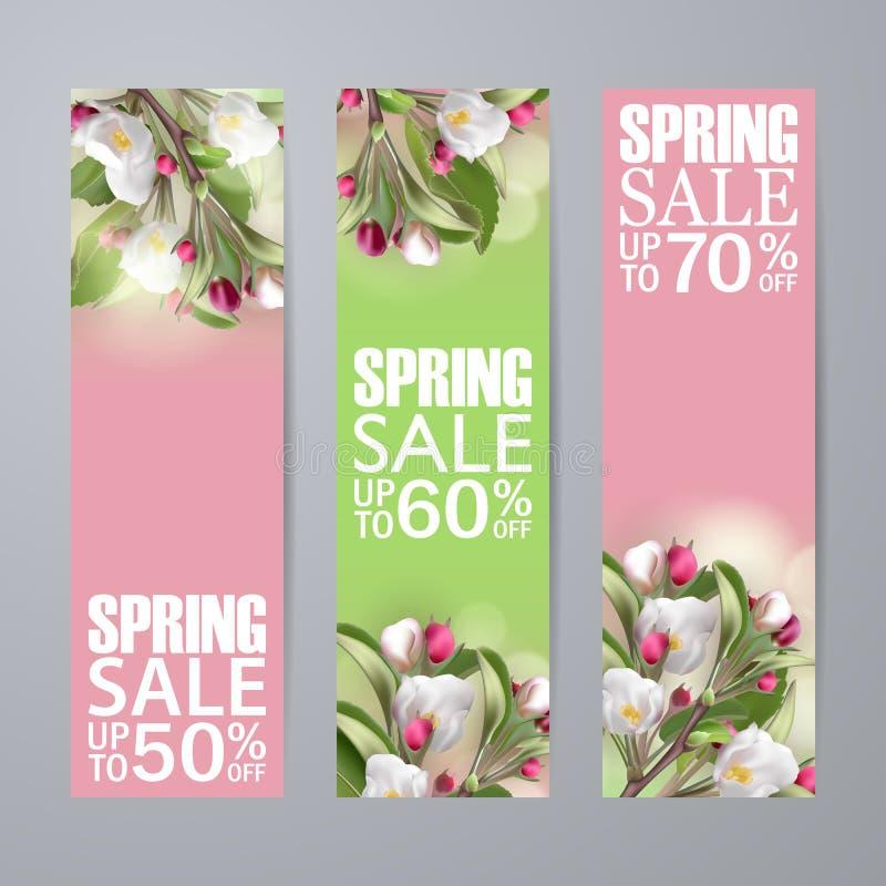 设置与佐仓的传染媒介春天销售垂直的横幅 向量例证