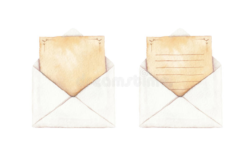 设置与信件的信封 免版税库存图片