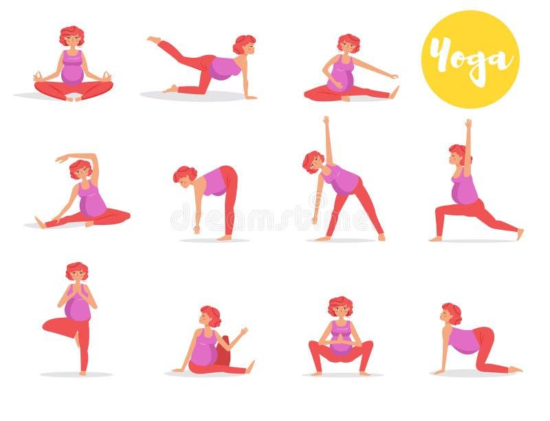 设置与做瑜伽的孕妇 向量例证