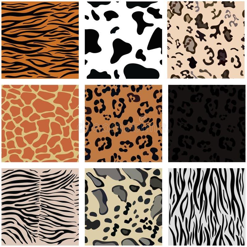 设置与动物皮毛的九个无缝的样式 E 向量例证