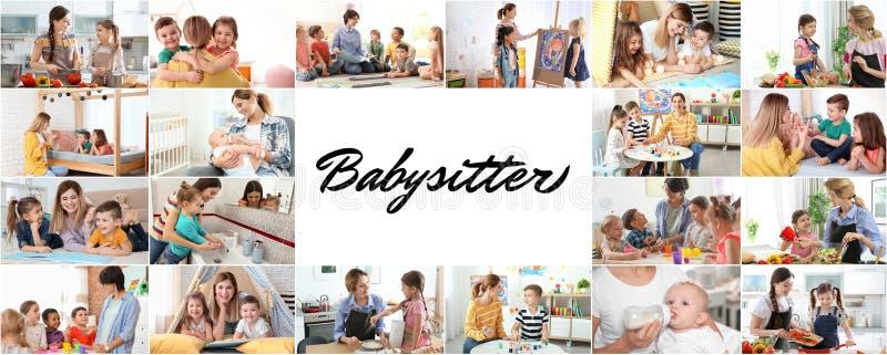 设置与可爱的孩子和保姆的图片 库存图片