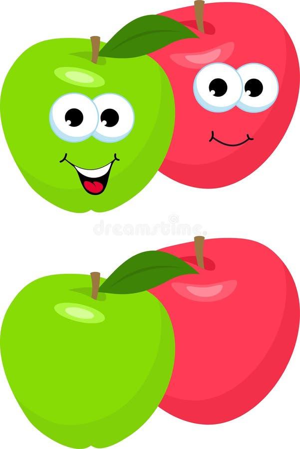 设置与叶子的苹果 逗人喜爱和滑稽的红色和绿色苹果字符,吉祥人,装饰元素,动画片传染媒介 向量例证